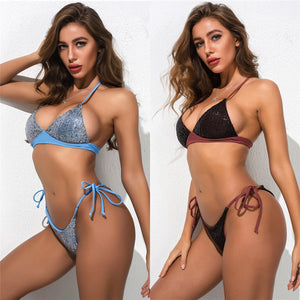 Sexy halter sequin string bikini triangle bathing suit swim wear for swimsuit summer beach girl new for 2020 bikini - SolBikini