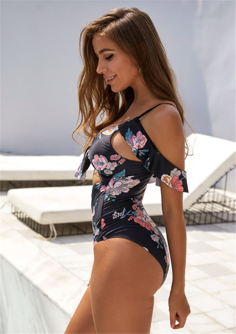 Sexy black floral front tie high waist off shoulder swimsuit new for 2020 monokini one piece beach girl bathing suit - SolBikini