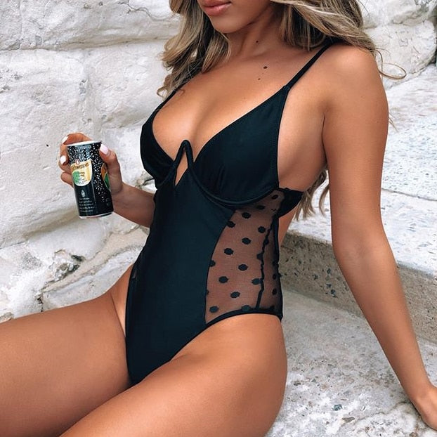New For 2020 Summer Beach Girl Sexy Black Mesh Polka Dot One-Piece Monokini Swimsuit - SolBikini