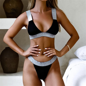 Sexy Brazilian bandage strip push up bikini thong high cut leg swim swimsuit summer girl bathing suit 2 piece set new for 2020 - SolBikini
