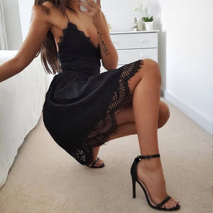 A-line lace short mini backless bandage summer beach new for 2020 v-neck dress - SolBikini