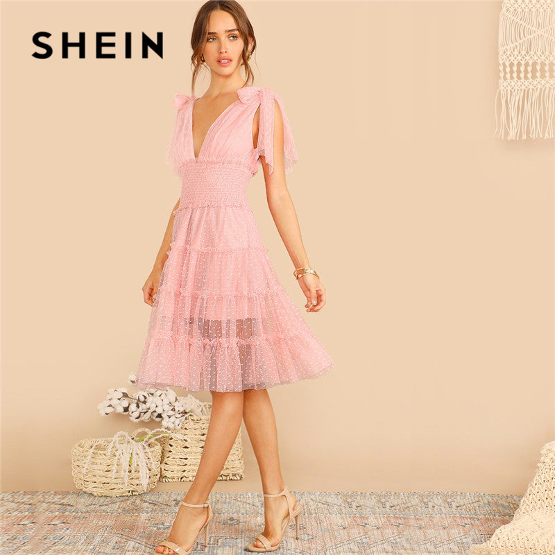 Shein knot shoulder plunging neck mesh lace sleeveless deep v-neck midi dress a-line pink summer dress - SolBikini