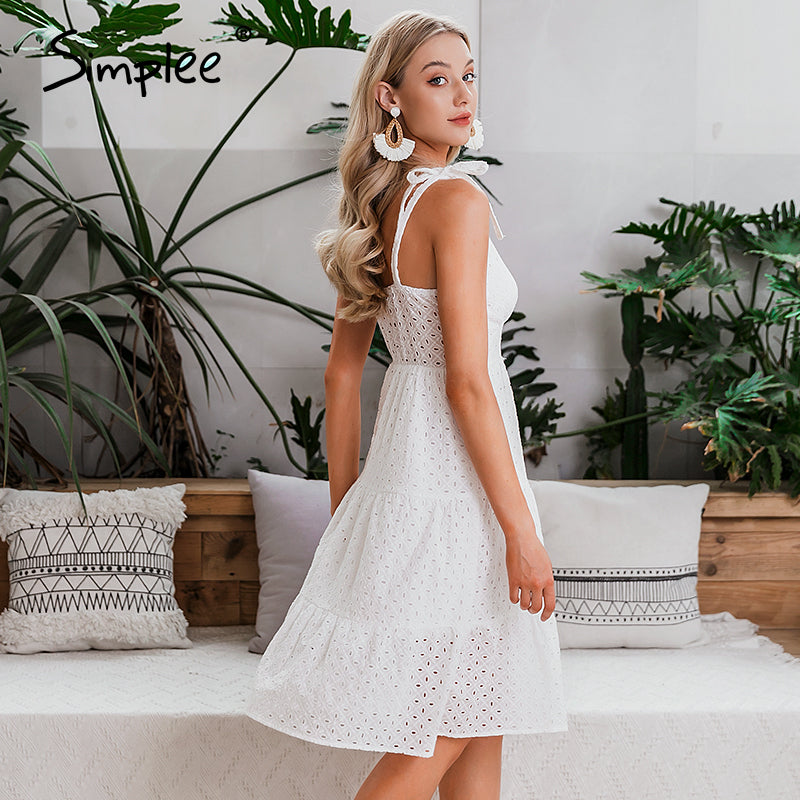 Casual white summer beach dress Bow-knot shoulder embroidery hollow out female midi dress backless midi dress - SolBikini