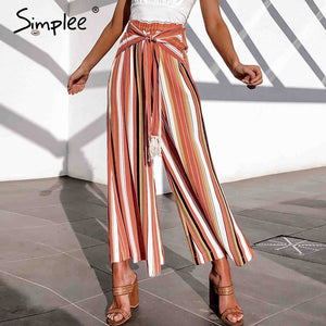 Striped Wide Leg Women'S Fashion New For 2020 Summer Beach High Waist Casual Pants - SolBikini