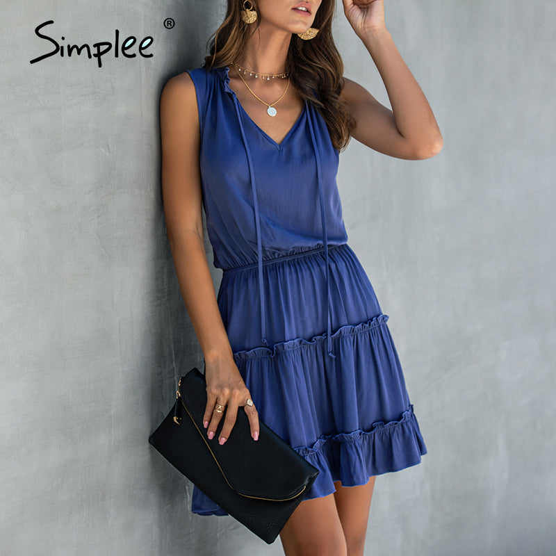 Summer Sleeveless Boho Casual Ruffled Cotton Beach Mini Dress - SolBikini