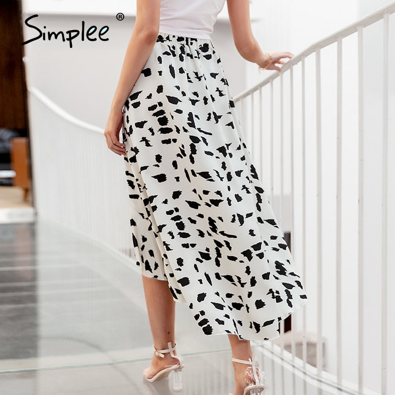 High waist leopard printed wrap skirt ruffles spring summer midi skirt casual holiday skirts bottoms - SolBikini