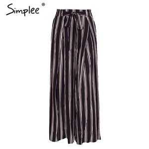 High Waist Loose Striped Summer Beach Casual Pants Sexy Side Split Elastic Waist - SolBikini