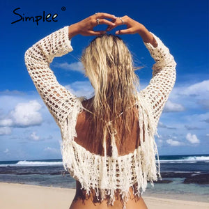Hollow out sexy tassel cover-ups beach summer oversize beach summer 2020 backless - SolBikini