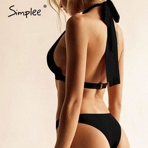 Ruched bow halter summer high cut push up sexy  solid high waist bikini - SolBikini