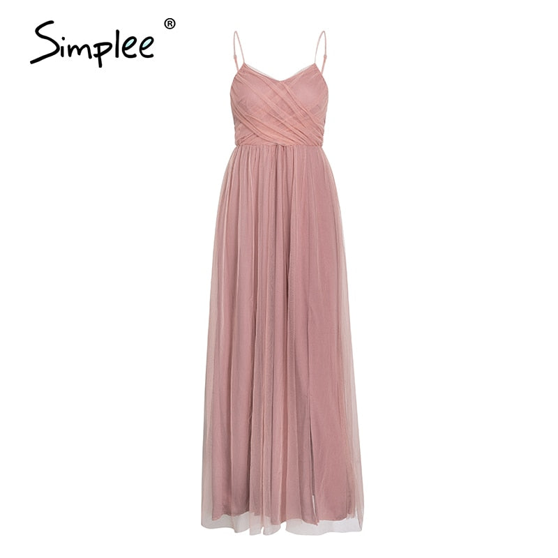 Sexy v-neck spaghetti strap elegant evening solid mesh long party summer style pink ladies maxi dress - SolBikini