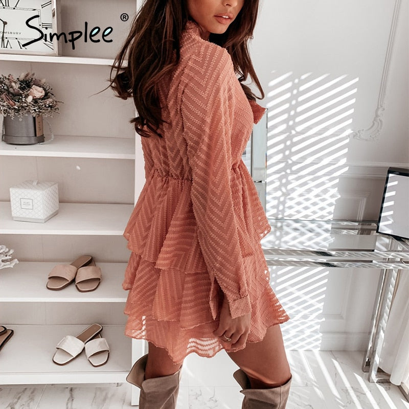 Sexy v-neck street-wear a-line bohemian chiffon tie beach knitted spring 2020 short pink dress - SolBikini