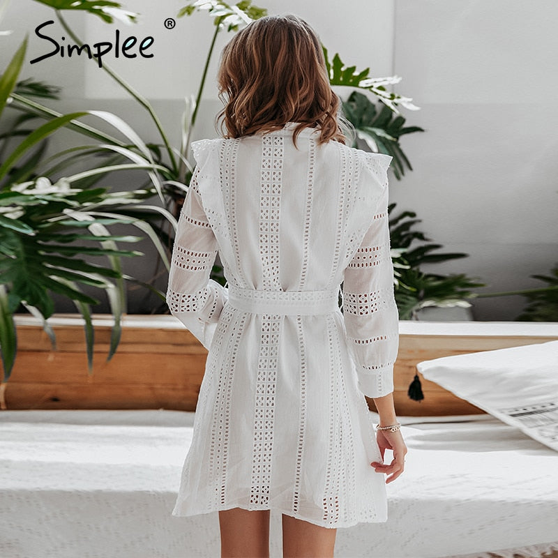 Vintage button white party spring autumn hollow out runway elegant long sleeve sash ladies short dress - SolBikini