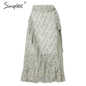 Elegant ruffled lace midi skirt high waist casual wrap skirts autumn vintage skirt - SolBikini