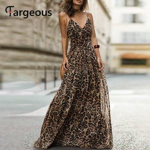 Spaghetti strap leopard print maxi long evening party chiffon dress - SolBikini