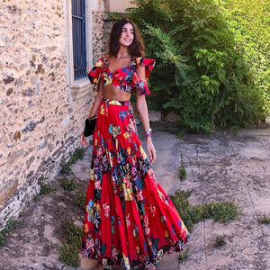 Summer 2 piece sets floral skirts suits sexy cropped top + maxi long pleated dress Bohemian skirts boho set - SolBikini