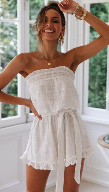 Summer Vintage Boho Mini Causal Street-wear Backless Chest Wrapped Ruffles Romper Loose Playsuit - SolBikini