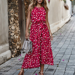 Summer long polka-dot beach bow strapless casual white midi summer dress new for 2020 - SolBikini