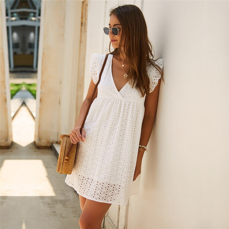 Sensual short , v-neck, butterfly, hollow lace, casual, loose, new for 2020 summer mini dress - SolBikini