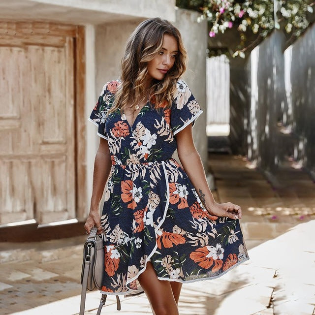 Summer casual floral print ruffle mini summer fitted short dress new for 2020 - SolBikini