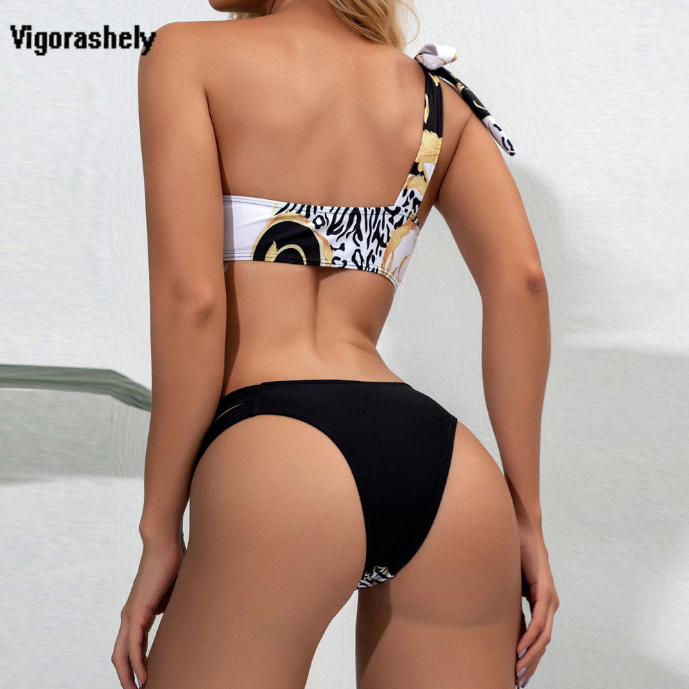 One shoulder bath sexy leopard new for 2020 patchwork push up summer beach girl bikini swimsuit - SolBikini