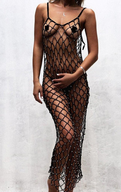 Sexy pearl beads beach cover summer mesh tunic sheer fishnet crochet bikini swimwear summer beach girl sarong dress - SolBikini