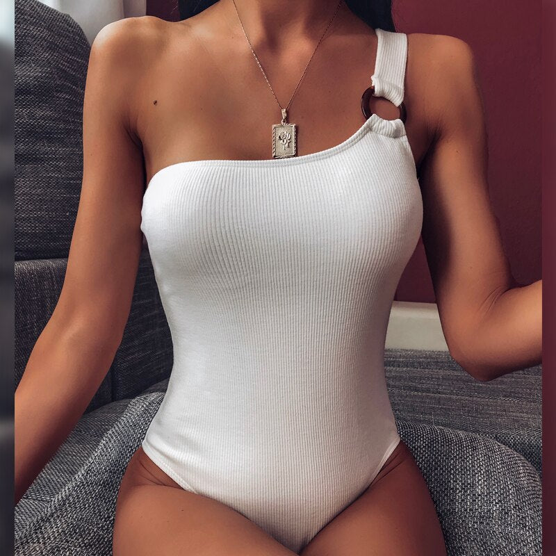 New For 2020 Summer Beach Vintage One Shoulder One -Piece  Monokini Bathing Suit - SolBikini