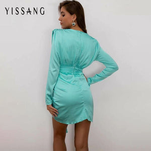 Bodycon party sexy deep ruffle v neck sashes autumn elegant vintage mini dress 2020 - SolBikini