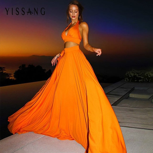 Elegant Party Summer Beach Two Piece Set Backless Halter Crop Top & Maxi Sexy Skirts - SolBikini