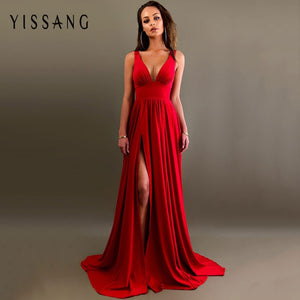 Sexy deep v neck backless summer elegant split evening maxi long party dress new 2020 - SolBikini