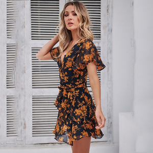 Summer Floral Printed V-neck Short-sleeved Lace-up Short Mini Butterfly Sleeve Sundress Elegant new for 2020 - SolBikini
