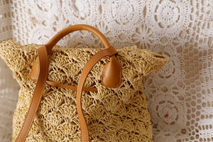 New Straw Backpack Hollow-out Crochet Bag Popular Handmade Rattan Summer Wicker Backpacks - SolBikini