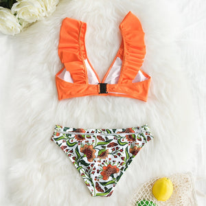 Orange Ruffle Bikini Sets With Floral Bottom Sexy Swimsuit Two Pieces Swimwear 2020 Beach Bathing Suit Biquinis - SolBikini