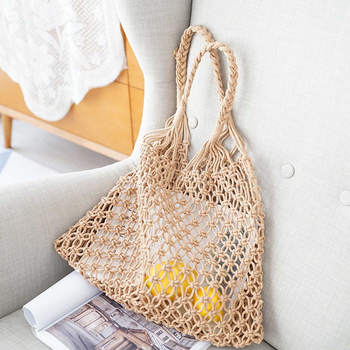 Vintage Bag Large Straw Bag Handmade Crochet Braid Fringed Bag Knitted Handbag Beach Bohemian Shoulder Bag - SolBikini