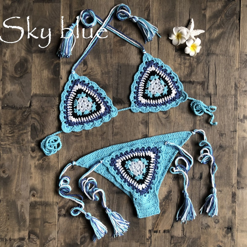 Sexy female bikini set crochet swimsuit Bohemia beach micro bikini set sexy 2020 - SolBikini