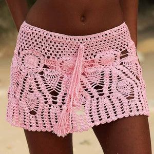 2020 new sexy crochet tassel beach skirt cotton cast swimsuit casual skirt beach running lace see through slim mini skirts - SolBikini