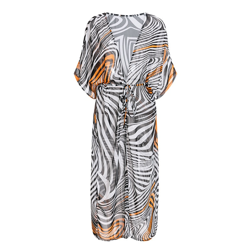 Striped cover-ups sarong cardigan beach dress Sexy print robe  Summer beach cover up - SolBikini
