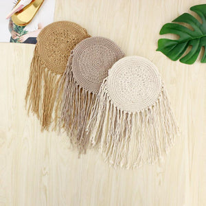 Round handbags handmade straw bag with tassel rattan woven rope vintage mesh messenger bag - SolBikini