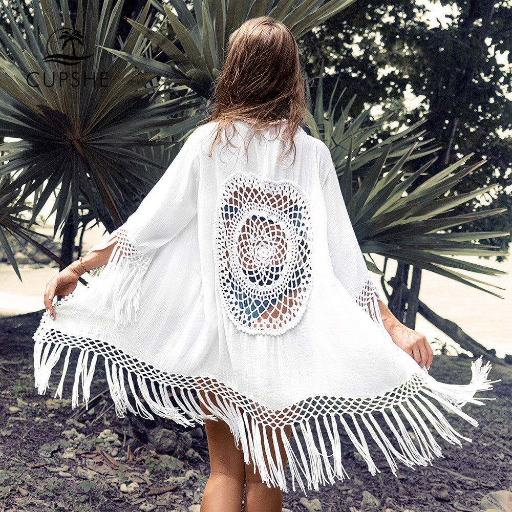White Tassel Crochet Bikini Cover Up Sexy Back Cut Out Kimono 2020 Beach Bathing Suit Beachwear Tunic Shirt - SolBikini
