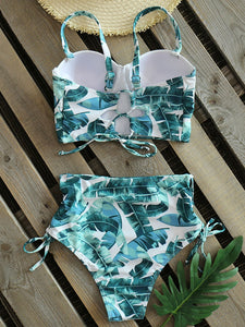 High waist swimwear leaf print bikini swimsuit vintage retro swimsuit halter bikini - SolBikini