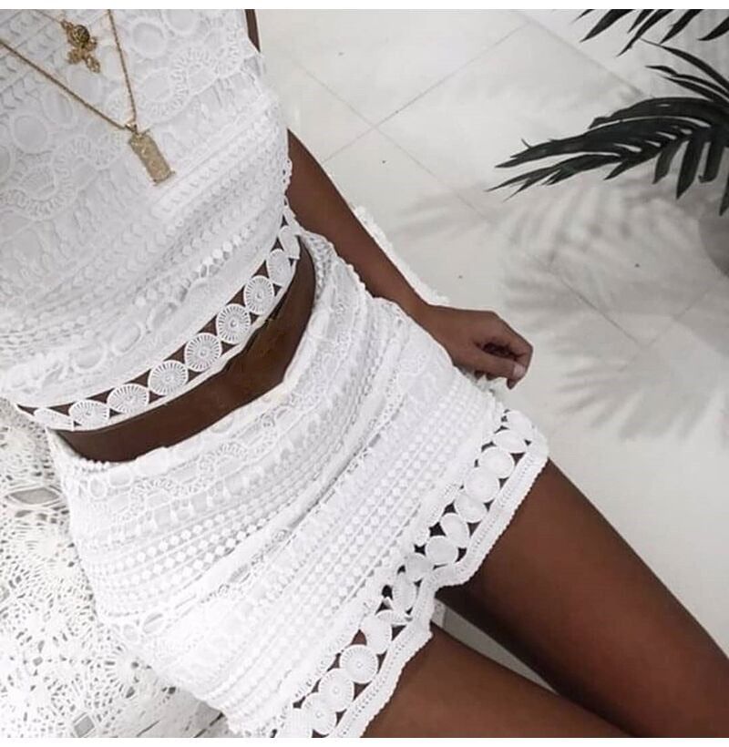 Sexy Lace Stitching Hollowed Out Elegant Sleeveless White Summer Chic Short Club Dress 2020 - SolBikini