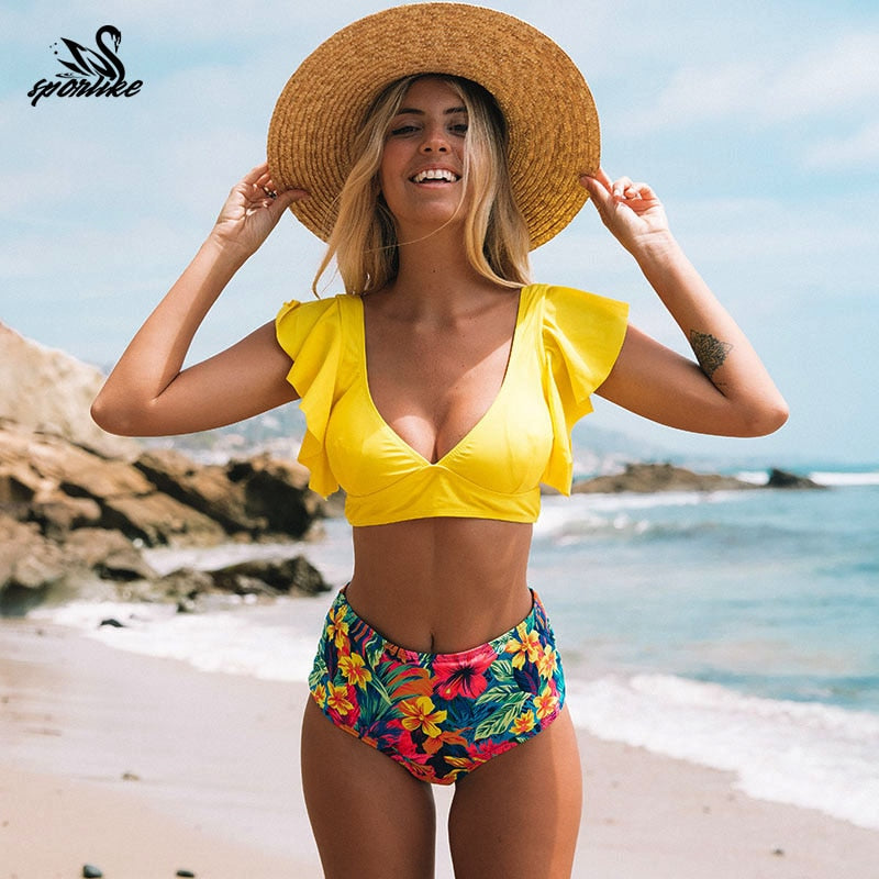 Floral ruffles hem bikini set flora v-neck high waist two-piece swimsuit 2020 beach swimsuit bikinis - SolBikini