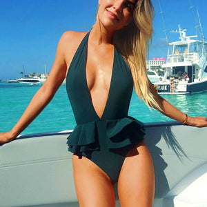Sexy deep v neck ruffle swimsuit 2020 backless monokini thong one piece bathing suit bathing suit bathing suit - SolBikini