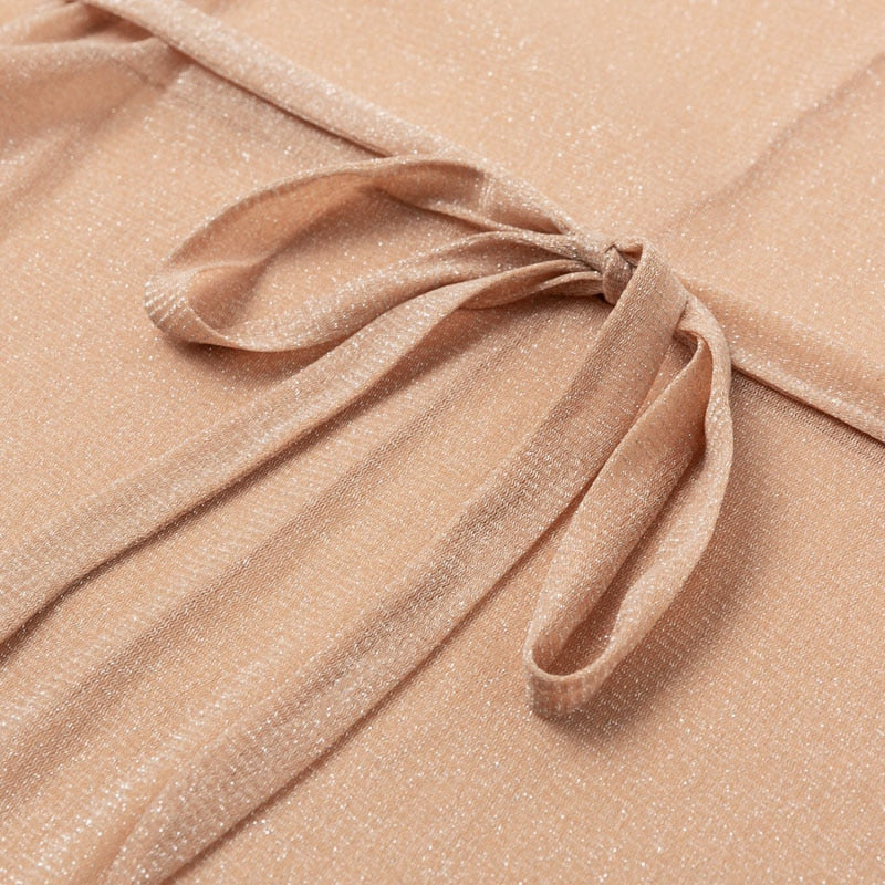 See though Gossamer Beach cover up Sexy bikini 2020 sash belt Long beach dress Gold tunic kimono o-neck swimwear - SolBikini