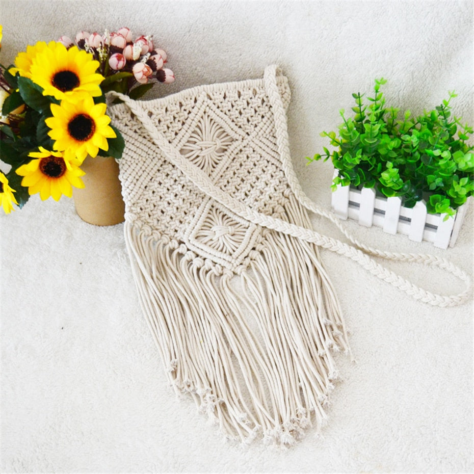 Handmade Rope Woven Handbag Knitted Rattan Summer Beach Bag Tassel Crochet Fringed Shoulder Bags - SolBikini