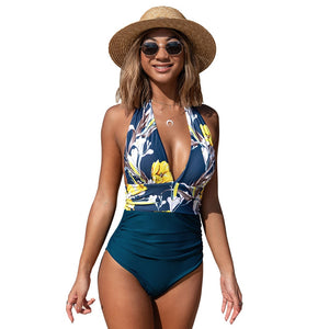 Navy floral deep v-neck halter one piece swimsuit sexy backless lace up monokini 2020 beach bathing suits - SolBikini