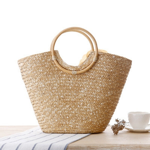 Straw bag summer beach tote bag basket handbag - SolBikini