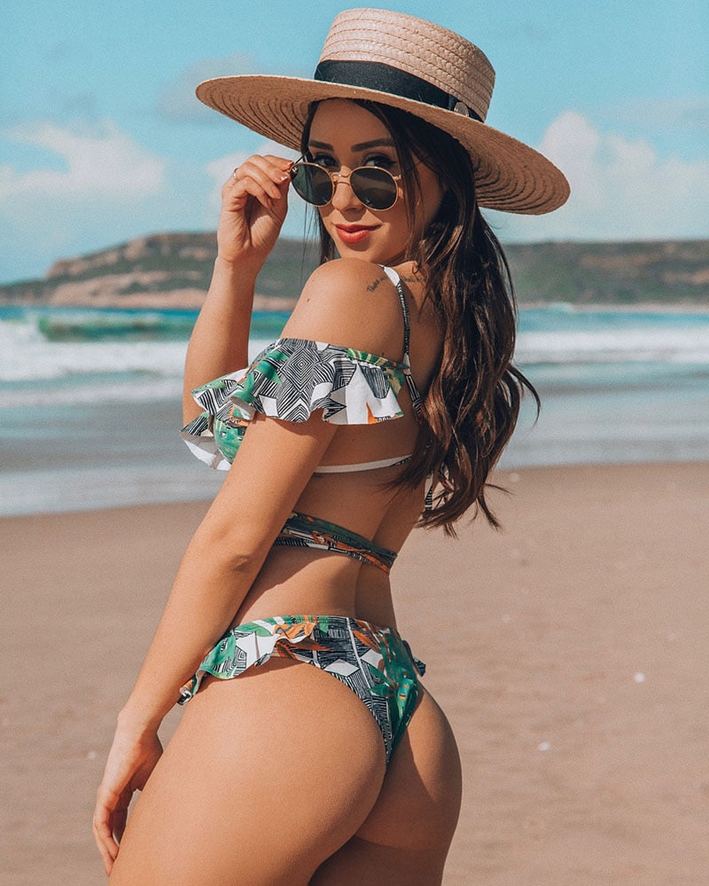 Off The Shoulder Print Ruffled Bikini New Sexy Swimwear Swimsuit Brazilian Bikini Set Thong - SolBikini