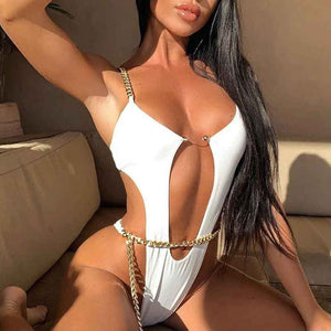 Copy of Sexy bikini 2020 Push up swimwear High cut bodysuits one-piece swimsuit Ring monokini Deep v-neck - SolBikini
