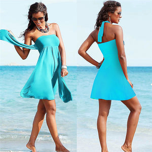 2020 sexy beach bikini dress cover-ups summer wrapped chest sleeveless beachwear swimsuit cover plus size wraps sarongs - SolBikini