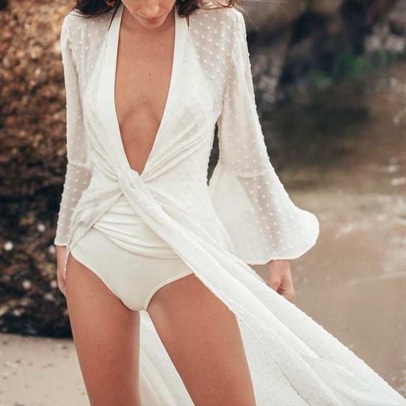 Solid white chiffon cover up 2020 Summer beach dress See through swimsuit cover ups Sexy beachwear - SolBikini